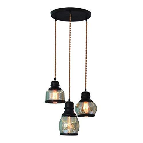 Linear-glas-anhänger (XAJGW Eco Power Vintage Küche lineare Insel Glas Kronleuchter Anhänger Beleuchtung Fixture-3 Lichter (Farbe : A))