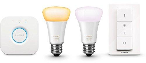 Hue White Ambiance  LED Lampe E27 Starter Set inkl. Dimmschalter und Bridge, 2.200 K bis 6.500 K, dimmbar, kompatibel mit  Amazon Alexa (Echo, Echo Dot), Frustfreie Verpackung