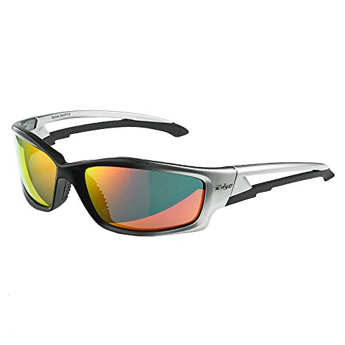 827e66830ff895 Edge Eyewear SKAP119 Kazbek Safety Glasses, Black with Aqua Precision Red  Mirror Lens