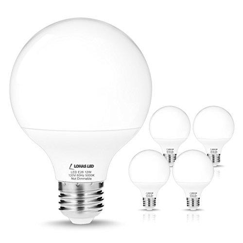 LOHAS G25LED Globe Glühbirne, LED Leuchtmittel Medium Schraube Basis (E26), für Home Beleuchtung, LED Kugelleuchte, Daylight(5000k), 12Watt 12.00 watts 120.00 volts - E26 Standard Schraube Basis