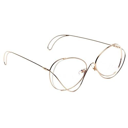 MagiDeal Damen Modebrille metallgestell Brille Nerdbrille Retro Rund Unisex - Golden, wie...