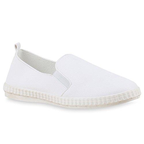 Damen Sneakers Flats Slip-ons Sportliche Slipper Freizeit Schuhe Weiß