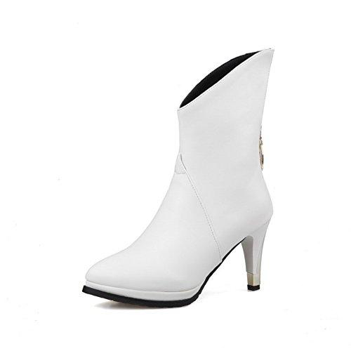 AllhqFashion Damen Mitte-Spitze Rein Reißverschluss Spitz Zehe Hoher Absatz Stiefel Weiß