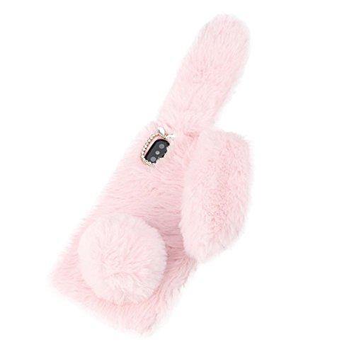 Handyhüllen hülle case für Iphone X Luxus Bling Diamant Häschen Pelz Plüsch flockige flaumige weiche Telefon Kasten Abdeckung für Iphone X (pink) - Aus Bling Telefon-kästen