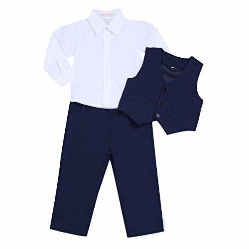 iiniim 3tlg. Säuglingskleinkind Jungen Baby Bekleidungsset T-shirt+Weste+Hose Gentleman Anzug für Babys Taufe Hochzeit Festzug Marine Blau&Weiß 98-1043-4 Jahre
