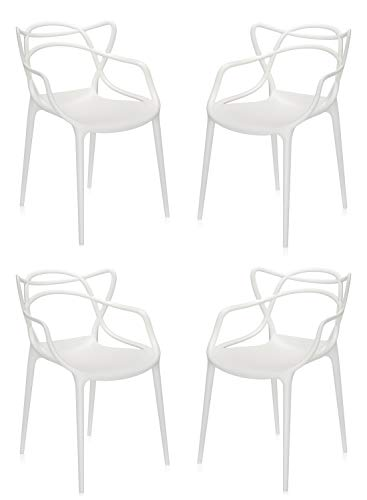 Totò Piccinni Sedie Starck style Moderne Design impilabile (L)54x(P)55x(A)82 cm (Bianco, 4)