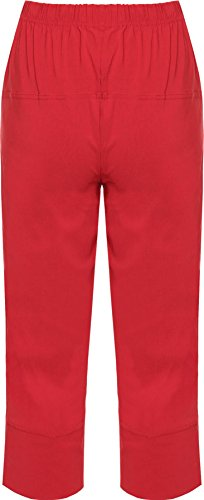 WearAll - Pantalon Court 3/4 Corsaire Capri Uni Elastiquée - Pantalon - Femme - Grandes Tailles 40-50 Rouge