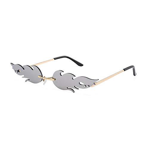 CCTYJ Mode Feuer Flamme Sonnenbrille Frauen Männer Randlose Welle Sonnenbrille Brillen Trending Schmale Sonnenbrille Streetwear-Silber