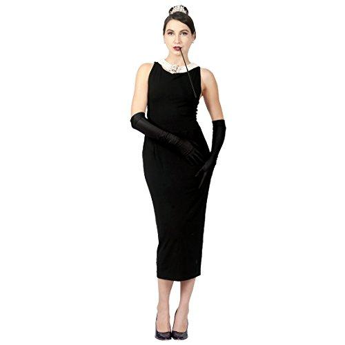 Ohrring Halloween Kostüm Mädchen Perle Einem Mit - Audrey Hepburn Frühstück bei Tiffany's Black Cotton Dress Set Vintage ikonischen Halloween-Kostüm (L)
