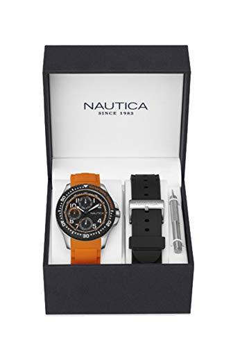 Nautica Reloj Analógico para Hombre de Cuarzo con Correa en Caucho NAD14534G