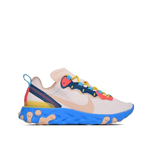Nike W React Element 55, Scarpe da Atletica Leggera Donna, Multicolore (Light Cream/Desert Ore/Lt Blue Fury 201), 38 EU