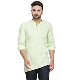 ABH LIFESTYLE Men's Cotton Silk Angrakha Kurta