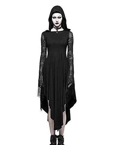 Hibasing Frauen mittelalterlichen Cosplay Kleid, Vintage Kostüm Kostüm mit Kapuze (Mittelalterliches Bankett Kostüme)