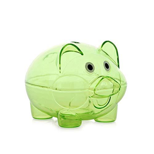Acutty - Hucha Transparente de plástico con Forma de Cerdito para Monedas, Dinero en Efectivo, Verde, Large