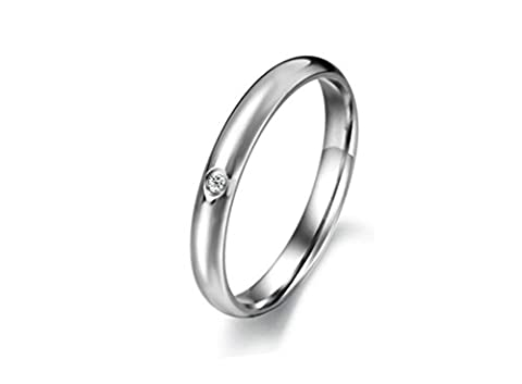 Jasmineees Jewellery Stainless Steel Womens Ring Round Shape Smooth Mosaic CZ Cubic Zirconia Anniversary Engagement Wedding Band Ring for Womens Ladies Silver Size L 1/2