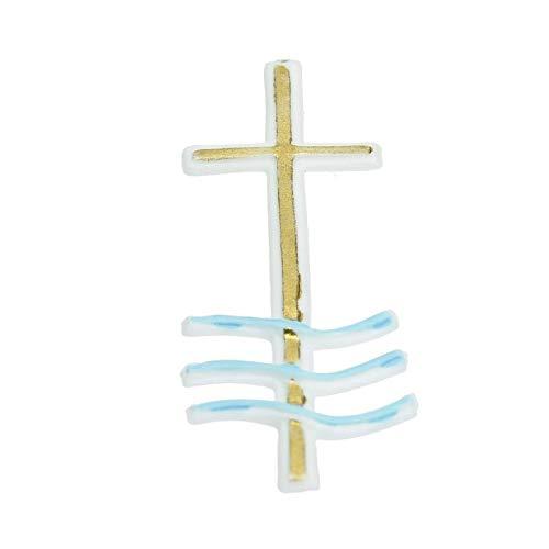 """efco """"Taufe Kreuz Painted Wachs Dekoration, Weiß/Gold/Blau, 73x 22mm"""