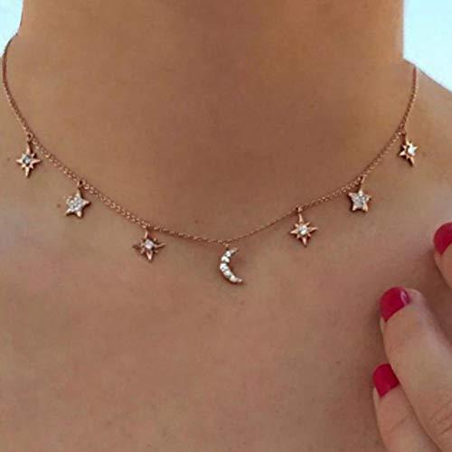 Jovono Boho Halskette Sterne und Mond Anhänger Chokerhalsketten Mode Halskette Kette Schmuck für Frauen und Mädchen (Rose Gold) (Anhänger Mond Halskette)