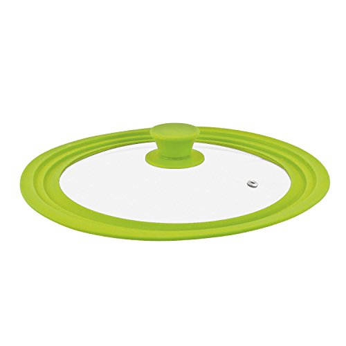 Bremermann® - coperchio universale in vetro con bordo in silicone, 30/32/34 cm, grande verde