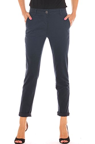 Pantalone chino donna in velluto stretch Blu scuro