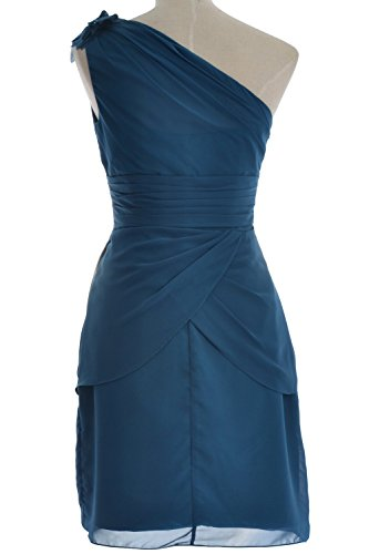 MACloth Women One Shoulder Short Bridesmaid Cocktail Dress Formal Evening Gown Gelb