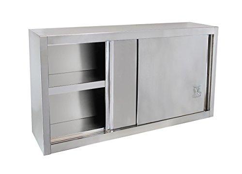 Beeketal \'BWS100\' Gastro Küchen Wandhängeschrank aus Edelstahl mit auf Rollen gelagerte Schiebetüren, Hängeschrank mit fest verbautem Einlegeboden - Außenabmessungen (L/B/H): ca. 1000 x 400 x 650 mm