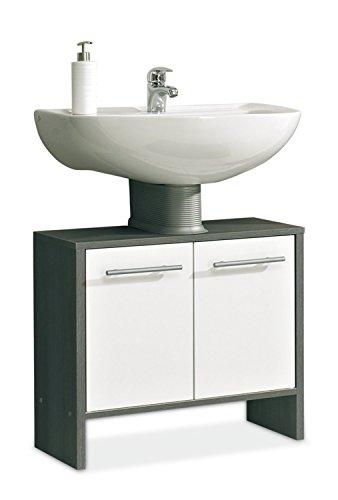 Waschbeckenunterschrank Waschtischunterschrank ORSON 1 | Schwarz | Weiß Hochglanz | 2 Türen -