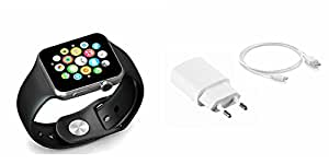 MIRZA Smart Watch & Mobile Charger for HTC DESIRE 626 (US)(Mobile Charger & Bluetooth A1 Smart Watch,Wrist Watch Phone with Camera & SIM Card Support Hot Fashion New Arrival Best Selling Premium Quality Lowest Price with Apps like Facebook,Whatsapp, Twitter, Sports, Health, Pedometer, Sedentary Remind & Sleep Monitoring, Better Display, Loud Speaker, Microphone, Touch Screen, Multi-Language, Compatible with Android iOS Mobile Tablet-Assorted Color)