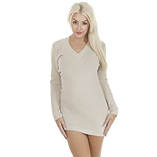 Love My Fashions® Women Jumpers Pullover Tops Blouse Chunky Knitted Sweater Long Sleeves V-Neck Full Length Plain Dress S M L XL