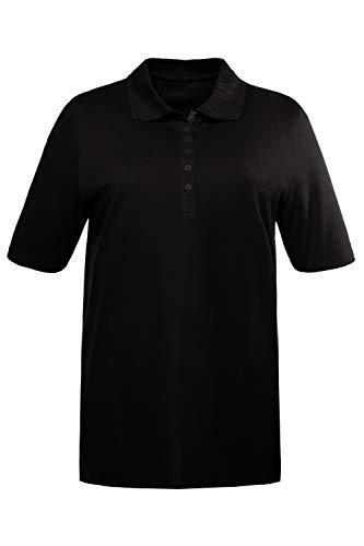 Ulla Popken Große Größen Damen Poloshirt Polopiquee Shirt Schwarz (Schwarz 10), 60 (Herstellergröße: 62+) -