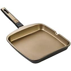 BRA- Grill asador Liso, Aluminio Fundido con Antiadherente Teflon Select, aptas para Todo Tipo de cocinas incluida inducción, Terra 28 cm