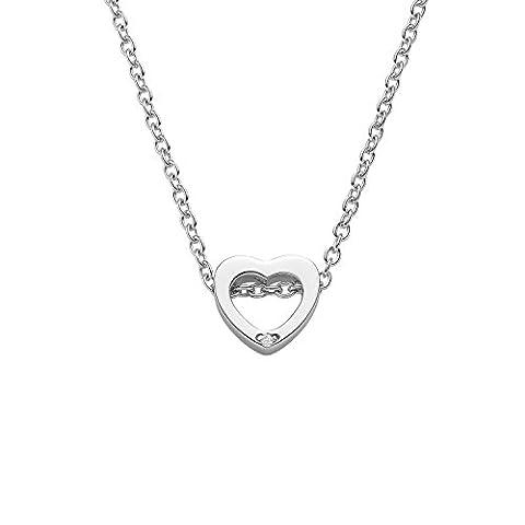 Herzkette Silber 925 ❤️ mit GRATIS ETUI von Amoonic mit einem SWAROVSKI Zirkonia Stein Geschenke für Frauen Freundin Kette Herz Geschenkideen Damen Geburtstag Sie Beste Jahrestag FF599SS925ZIFA40