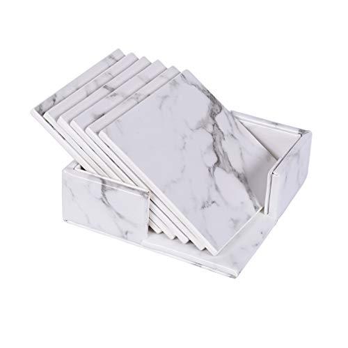 X-Labor Premium Leder Glasuntersetzer mit Halter 6-er Set Tassenuntersetzer Geschäftsuntersetzer Getränkeuntersetzer für Bar Büro Zuhause Marmor Coffee - Marmor-runde Untersetzer