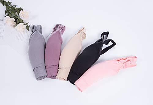 Vellette 3er/Pack Stillen BH Damen Schwangerschaft Still-BHS ohne Bügel Nahtlose Umstandsmode Tag und Nacht Still-BH, 3pcs(black+grey+purple), M/L(=L) - 5
