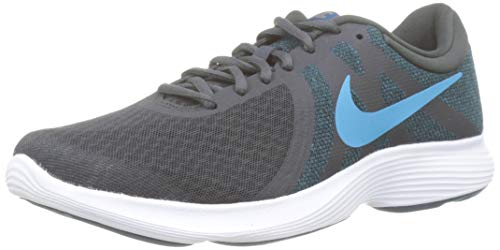 Nike Nike Revolution 4 Eu, Herren Laufschuhe, Schwarz (Off Noir/Lt Current Blue/Blue Force/Mtlc Pewter/White 021), 42 1/2 EU (8 UK)