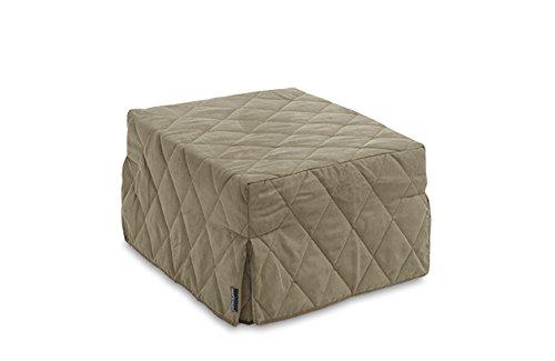 Pouff vito trasformabile in letto singolo, rivestimento trapuntato tortora scuro