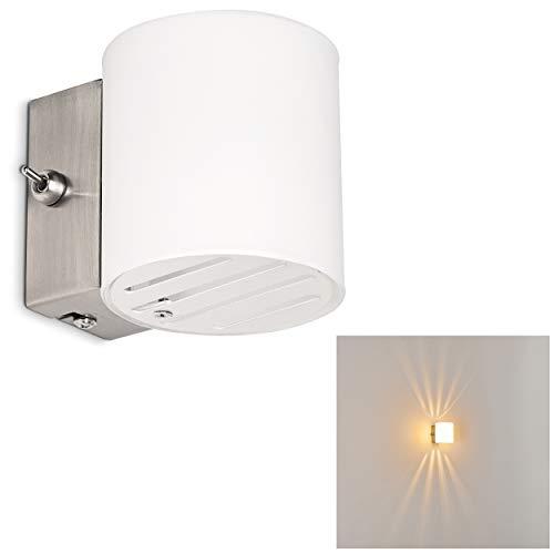 Nickel-metall-schatten (Wandlampe Bamako aus Metall/Glas in Weiß/Nickel-matt, moderne Wandleuchte mit Up & Down-Effekt, 1 x G9 max. 40 Watt, Innenwandleuchte mit Lichteffekt u. An-/ Ausschalter, geeignet für LED Leuchtmittel)
