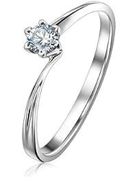 25 quilates anillo de compromiso de diamantes solitario Ronda barato en 10 K oro blanco