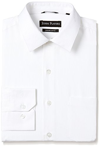 John Players Men's Solid Slim Fit Cotton Formal Shirt (JFMWSHA170046003_Bright White_40)