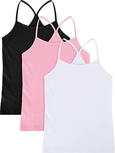 Boao 3 Stücke Mädchen Tanzen Tank Top Ärmellos Racerback Ernte Tank Top Mädchen Tanzbekleidung für Ballett Tanzen Gymnastik (Set 1, 9-10 Jahre Größe) -