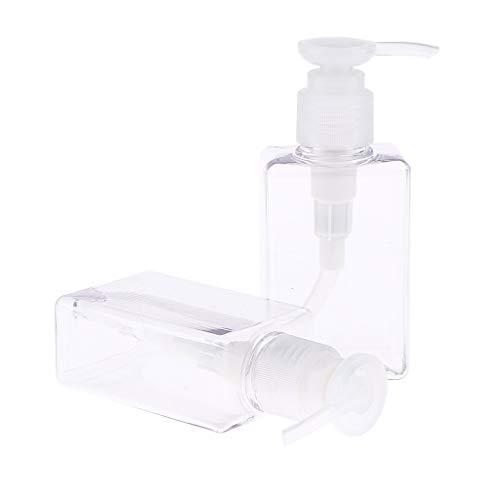 IPOTCH 2x 100 ml Bouteille en Plastique Vide Avec Pompe pour Shampooing de Toilette Flacon de Stockage Douche Gel - Clair
