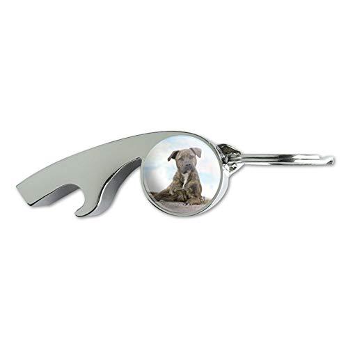 Staffy Staffordshire Bull Terrier Sandy Beach Sifflet de métal plaqué chrome Décapsuleur Porte-clés