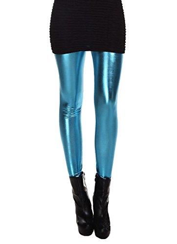 Kostüm Damen Disco Hosen - ELLAZHU Damen Metallisch Dehnbar Kunstleder Leggings Einheitsgröße 2143 Blau