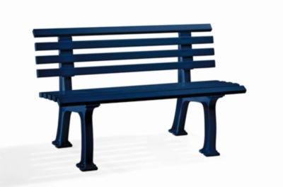 Parkbank aus Kunststoff - mit 9 Leisten - Breite 1200 mm, stahlblau - Bank Bank aus Holz\, Metall\, Kunststoff Bänke aus Holz\, Metall\, Kunststoff Gartenbank Kunststoff-Bank...