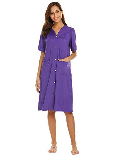 EKOUAER Damen Nachthemd mit Reißverschluss vorne, Kurze Ärmel, Loungewear - Blau - Small - Für Nachthemden Mit Damen Reißverschluss