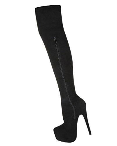 Damen Overknee Stiefel Schuhe Boots Plateau High Heels Schwarz Grau 36 37 38 39 40 41 Schwarz