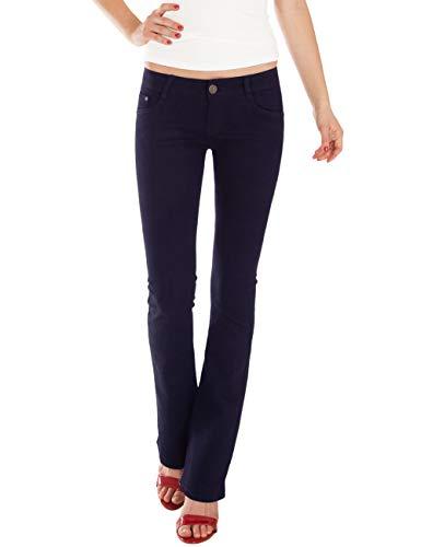 Hose Jeans Wide Leg Jeans (Fraternel Damen Jeans Hosen Bootcut Hüftjeans Dunkelblau L / 40 - W31)