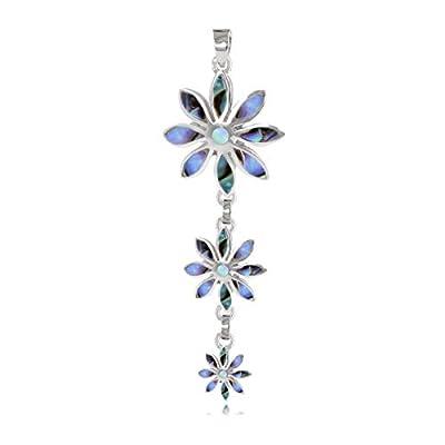cadeau personnalisé femme-Pendentif -Nacre abalone-3 fleurs- Argent massif-Femme