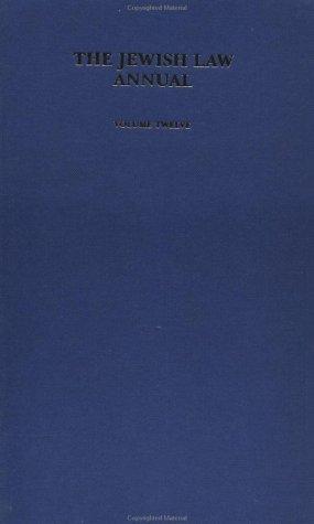 Jewish Law Annual Volume 12: Vol 12
