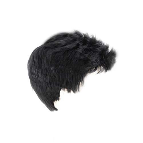 Perücke Herren, Herrenmode Kurze Haare Perücke Perfekt für Karneval Party Cosplay Festival Schwarzes kurzes Haar mit flachem Kopf Malloom -