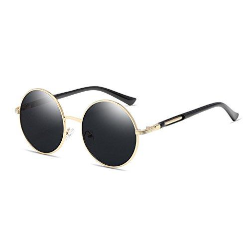 QIXU Gafas de Sol Redondas Mujer Negro Lente Efecto Espejo Antirreflejante UV400 Vintage Retro Inspirado Círculo Metálico con el Caso